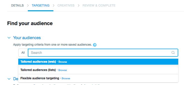adicionar públicos personalizados no twitter ads