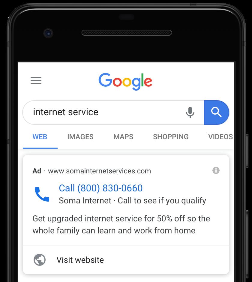 anúncios de chamada do google ads