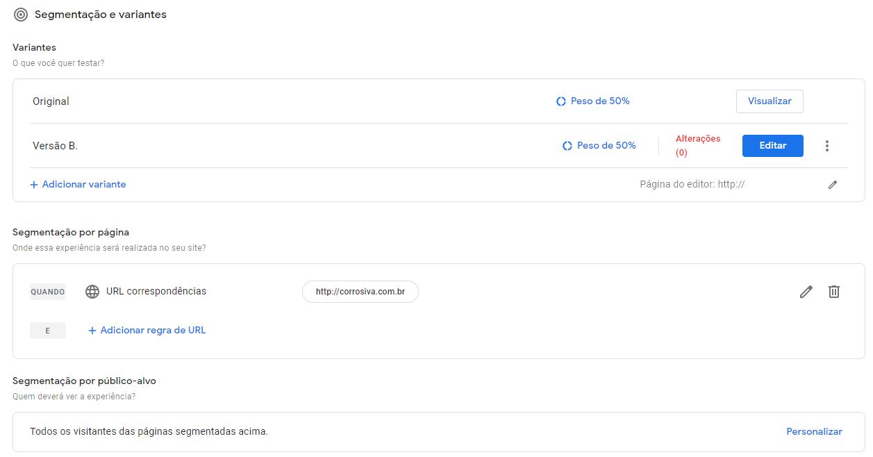 Google Optimize adicionar variante