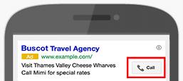 As extensões de chamadas são automaticamente adicionadas aos anúncios em algumas situações.