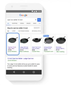 """Google apresenta o relatório """"Parcela de Impressões Absolutas na Parte Superior"""". Ele mostra a frequência com que anúncios aparecem nas posições de maior destaque no Google Shopping."""