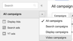 Os dados das campanhas de vídeos TrueView são unificados às demais campanhas na interface principal do Google Adwords.