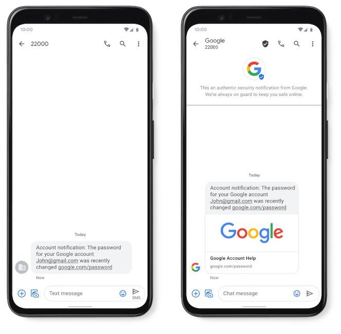 SMS verificado google
