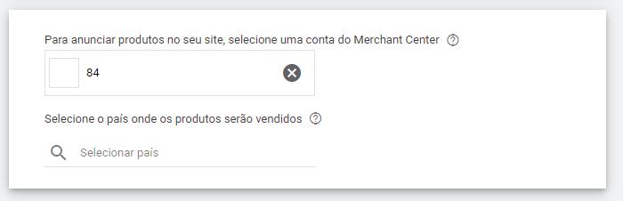 selecionar conta merchant center